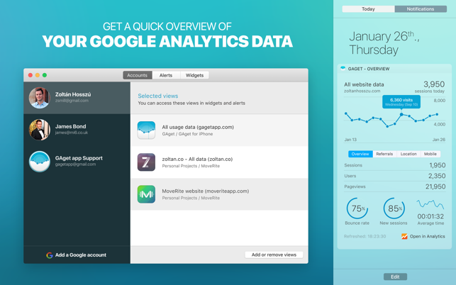 ‎GAget - for Google Analytics Screenshot