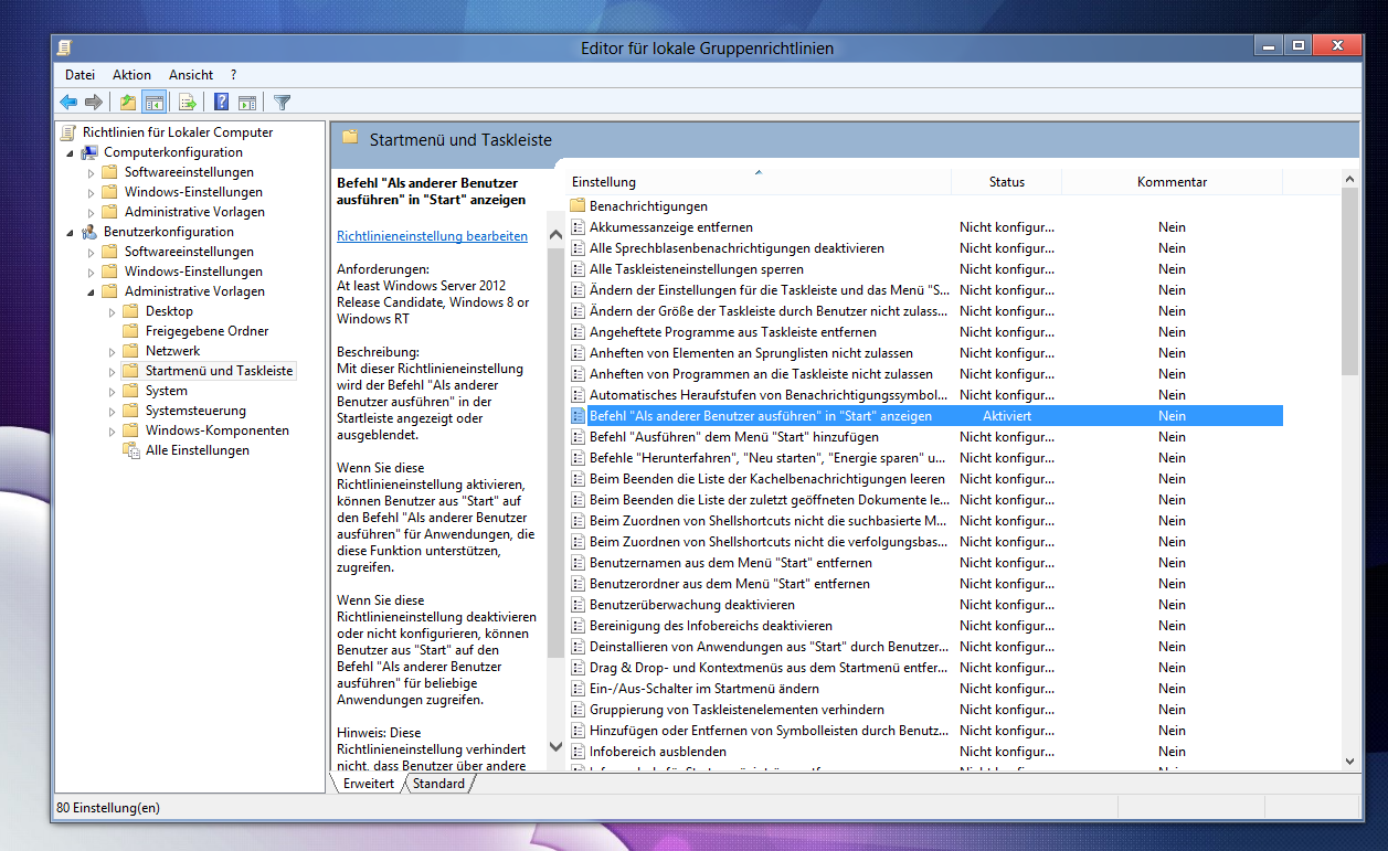 """Windows 8: """"Als anderer Benutzer ausführen"""" dem Homescreen hinzufügen"""