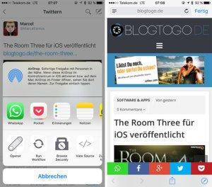 Browsecurely für iOS öffnet Links in Apps in einem Safari View Controller