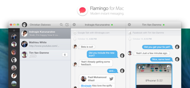 flamingo neuer multi messenger f r os x mit viel licht und viel schatten. Black Bedroom Furniture Sets. Home Design Ideas