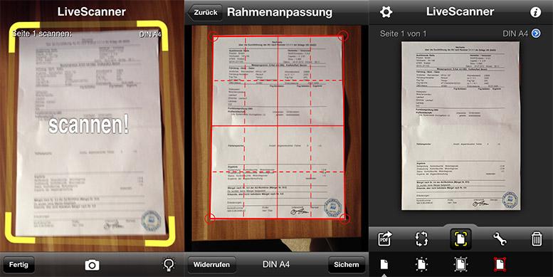 livescanner dokumente scannen mit dem iphone. Black Bedroom Furniture Sets. Home Design Ideas