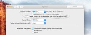 """OS X 10.11 """"El Capitan"""": Menüleiste automatisch aus- und einblenden lassen"""