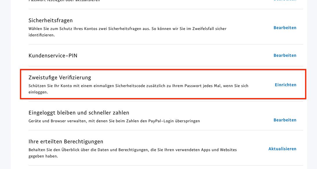 Paypal Authentifizierung App