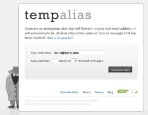 TempAlias: Alternative zu 10 Minute Mail mit Bookmarklet