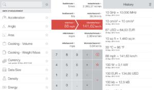 Vert für iOS wandelt etliche Einheiten und Kleidungsgrößen um