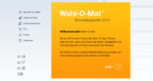 Wahl-O-Mat zur Bundestagswahl 2013 von der Bundeszentrale für politische Bildung gestartet
