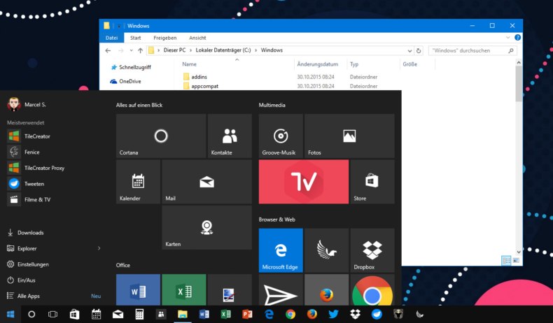 windows-10-dunkle-taskbar-und-start-menue-farbige-leiste-explorer-1