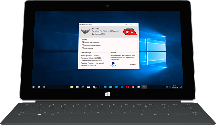 Windows 10: Symbole in der Taskleiste zentrieren