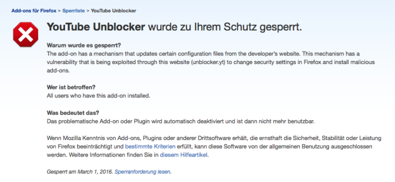 youtube-unblocker-gesperrt